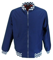Ikon Original Mens Navy Check Trim Classic Harrington Monkey Jacket