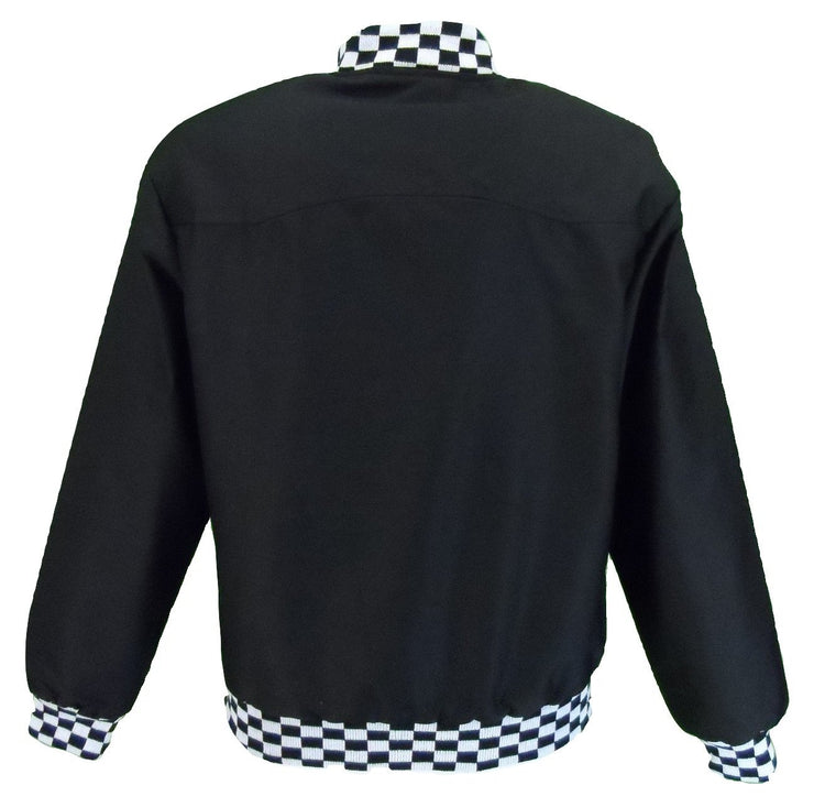 Ikon Original Mens Black Check Trim Classic Harrington Monkey Jacket - Ikon Original