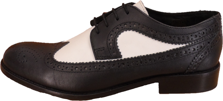 Ikon Original Yorke Leather Brogues in Black/White