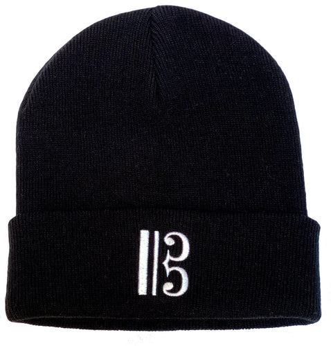 Alto Clef Beanie - Black with White Embroidery - Music Beanie