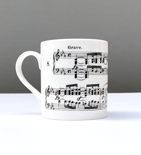 Bone China Mug with Beethoven's Sonata Pathétique Design