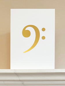 Bass Clef Gold Foiled Greetings Card
