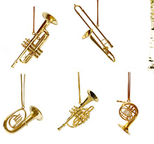 Load image into Gallery viewer, Christmas Ornaments - Brass Instruments: Trombone; Trumpet; French Horn, Baritone Horn, Tuba or Cornet