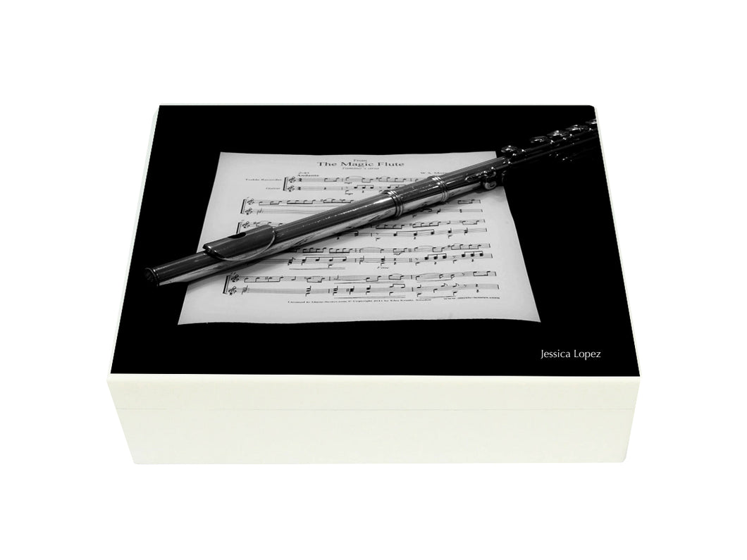 Flat Wooden A4 Flute Music File Box Personalised