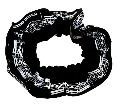 Musical hair tie scrunchie. White music score on black material.  Hand-made, large size (approx 15cm diameter)