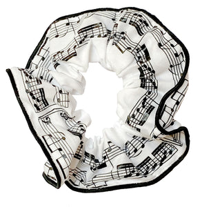 Musical hair tie scrunchie. Black music score on White material.  Hand-made, large size (approx 15cm diameter)