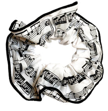 Load image into Gallery viewer, Musical hair tie scrunchie. Black music score on White material.  Hand-made, large size (approx 15cm diameter)