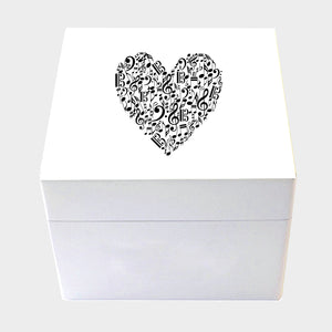 Music Heart Design Wooden Box in Small or Medium