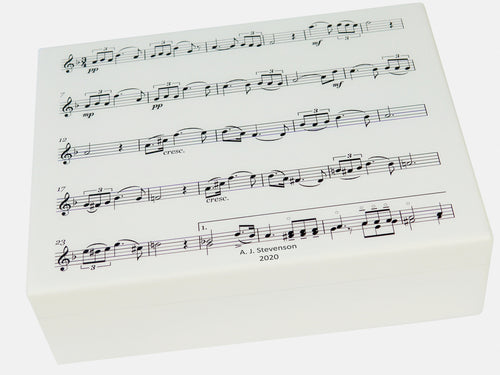 Flat Wooden A4 Music File Box Personalised - Manuscript Pattern