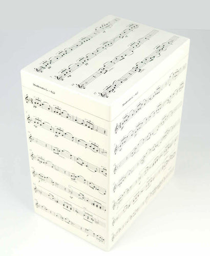 Tall Wooden A4 Music Box - Music Notes Pattern