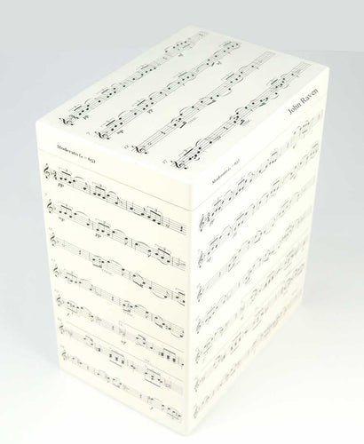 Tall Wooden A4 Personalised Music Box - Music Notes Pattern