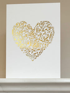 Music Heart Gold Foiled Greetings Card