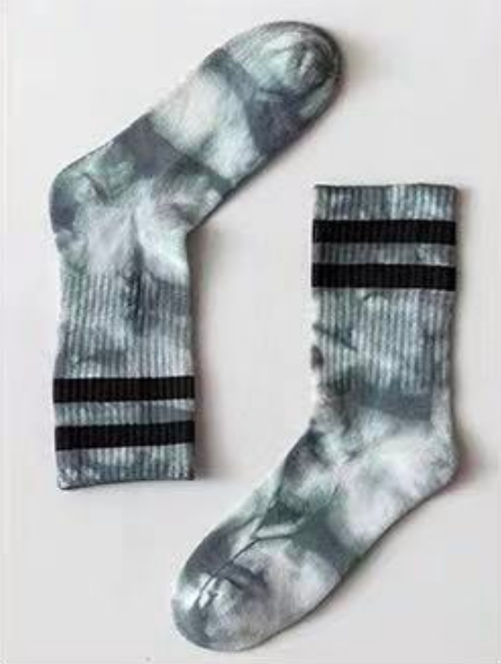 Shades of Grey Tie Dye Striped Socks