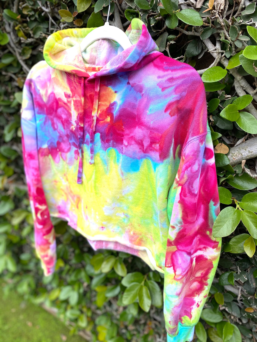 SUNNY- RAINBOW Ice Dyed Cropped Hoodie