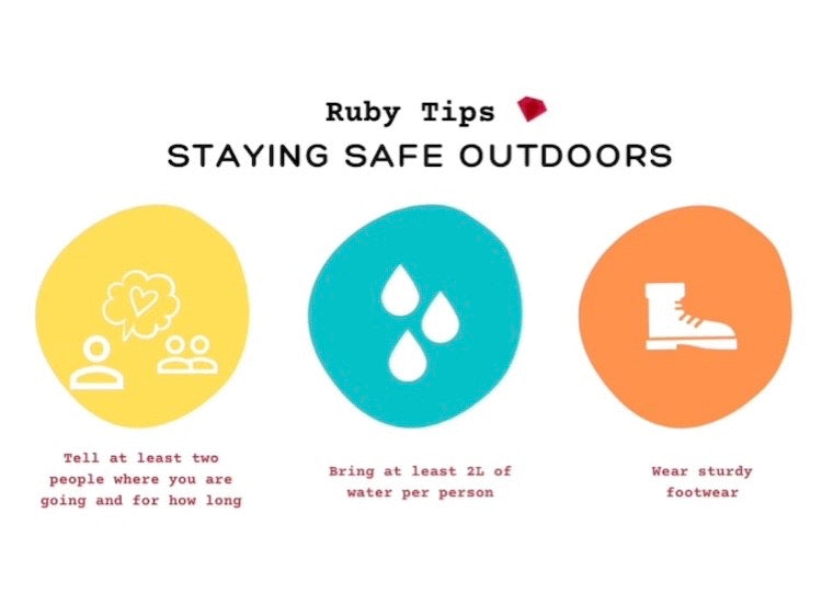 staying safe outdoors tips, tell two people where you're going, bring plenty of water, wear sturdy footwear