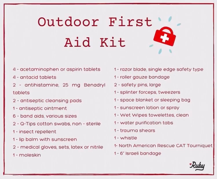 outdoor first aid kit list, wilderness first aid