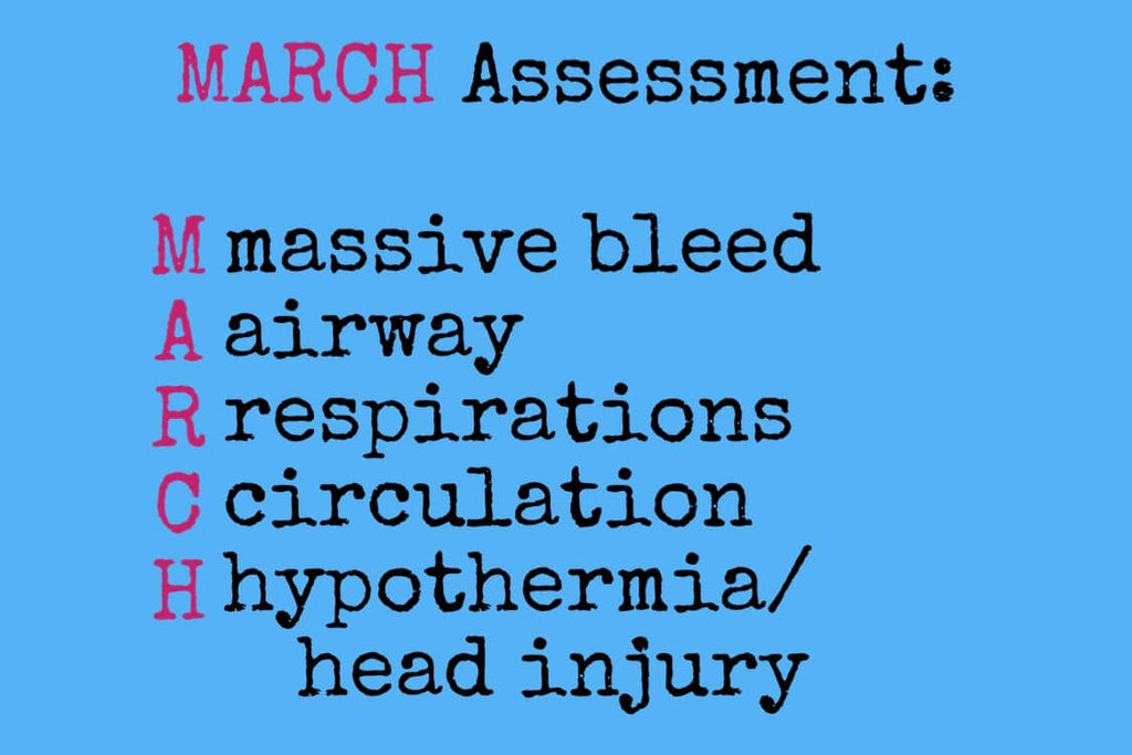 a graphic showing the MARCH assessment mnemonic
