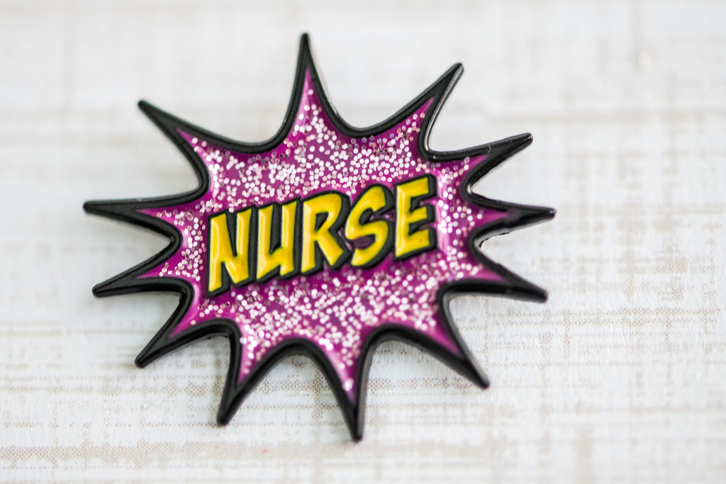 nurse enamel pin, cute and colorful enamel pin with glitter
