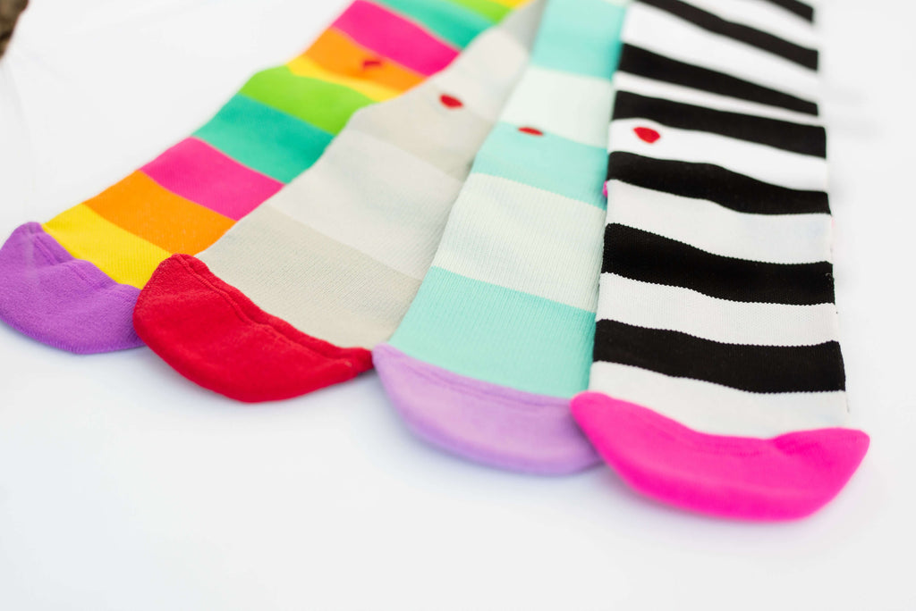 bright, colorful, fun compression socks for nurses aqua lavender red grey black white hot pink purple teal green yellow orange