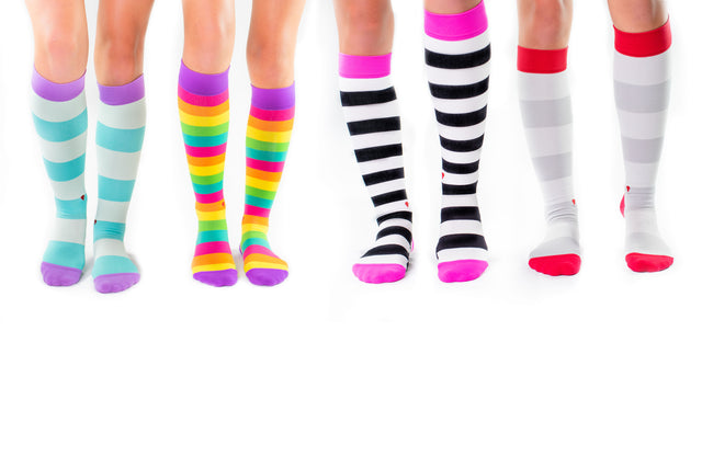 cute colorful compression socks for nurses and healthcare professionals, hot pink, black, white, aqua, lavender, red, grey, purple, yellow, orange, pink, teal, green
