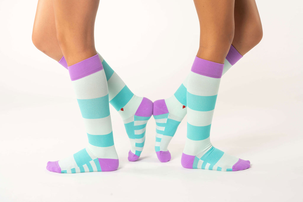 atlantis antimicrobial nurse compression sock, cute colorful compression socks, purple and aqua
