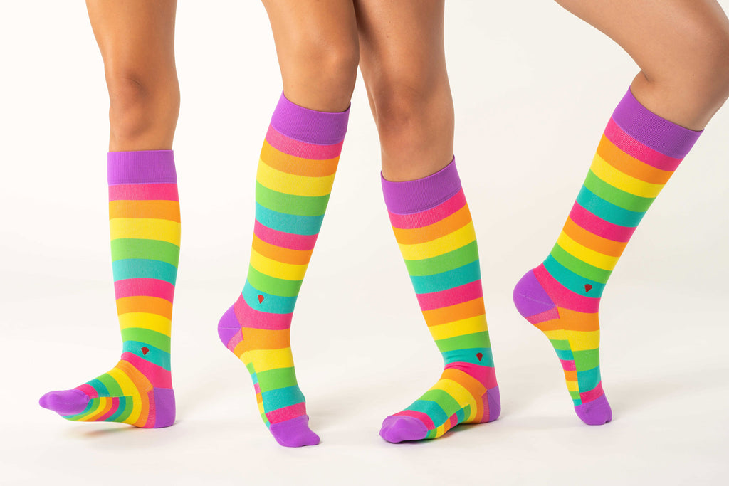 the rainbow antimicrobial compression sock, cute colorful compression stockings, pink orange yellow green teal purple