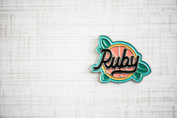 grapefruit enamel pin, cute colorful enamel pin