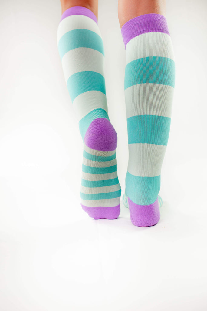 atlantis antimicrobial compression sock, cute colorful compression socks, purple and aqua back