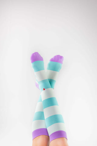 atlantis antimicrobial compression sock, cute colorful compression socks, purple and aqua