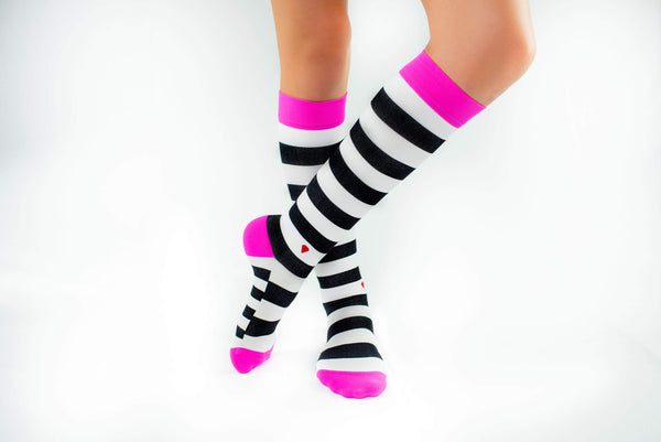 the chaos antimicrobial compression sock, cute colorful compression socks, black white and hot pink