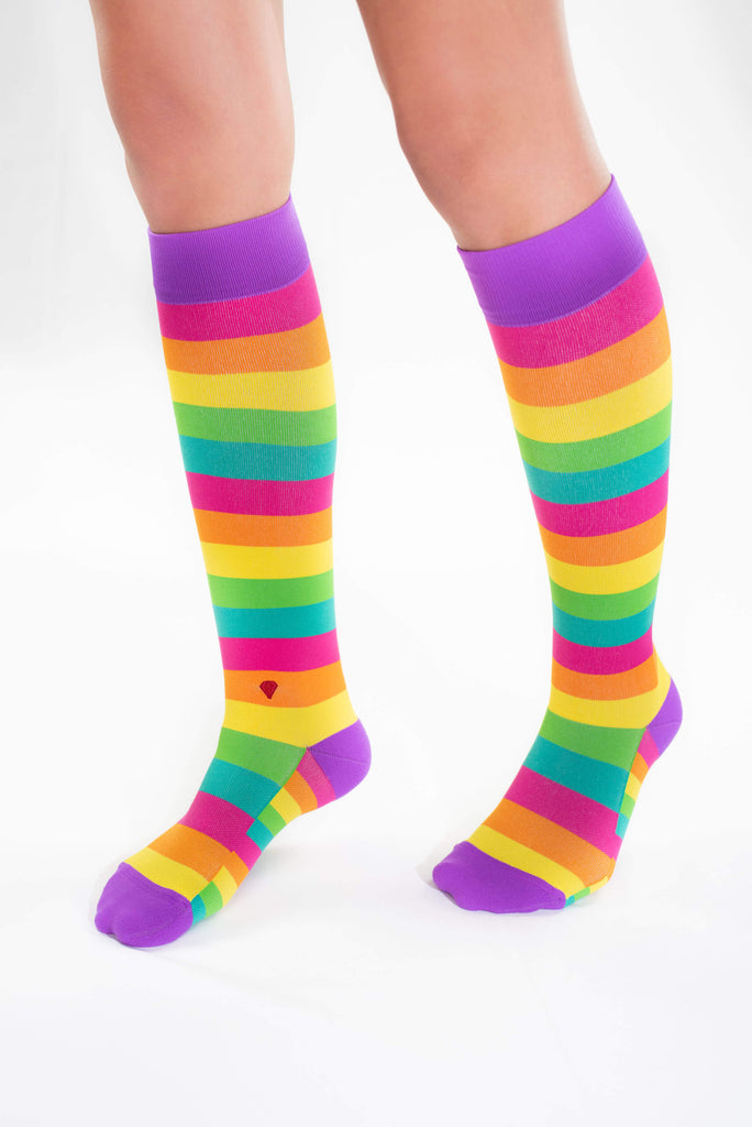 the rainbow antimicrobial nurse compression sock, cute colorful compression stocking, pink orange yellow green teal purple