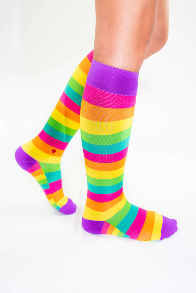 the rainbow antimicrobial compression sock, cute colorful compression socks, pink orange yellow green teal purple for standing all day