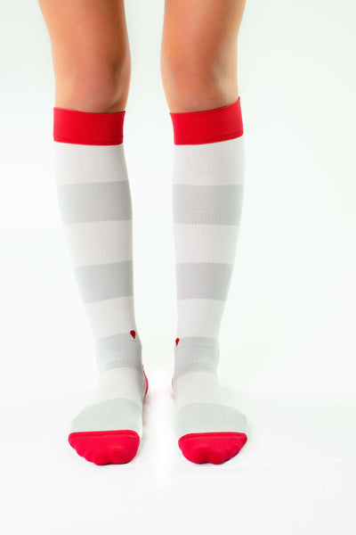 the ruby antimicrobial compression socks, cute colorful compression socks, grey and red