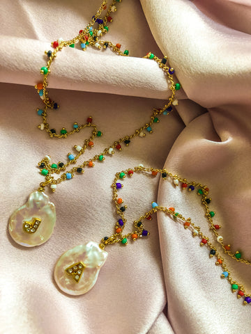 TUTTI FRUTTI PEARL DROP NECKLACE