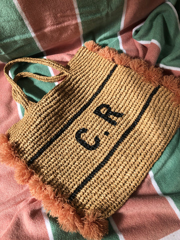 Personalised tassle raffia bag