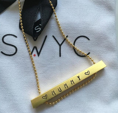 LONG GOLD NAME TAG BAR NECKLACE