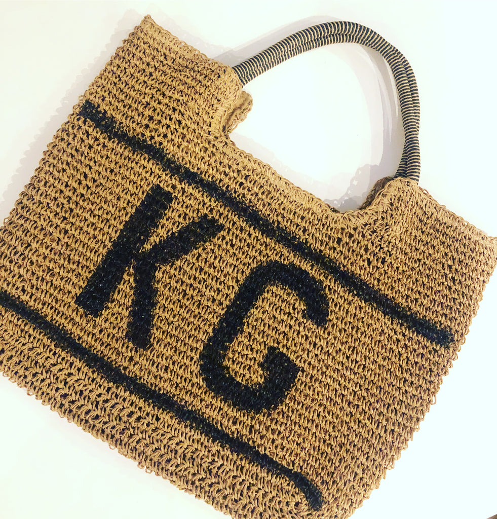 PERSONALISED STRAW BASKET BAG - LARGE INITIALS