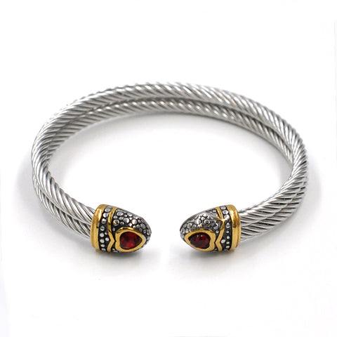 SILVER TWISTED BANGLE - RED STONE