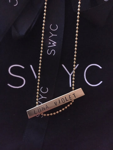 SHORT ROSE GOLD NAME TAG BAR NECKLACE