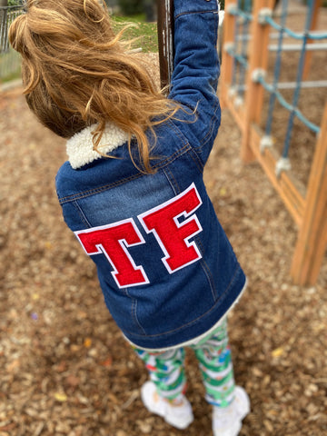 CHILDRENS PERSONALISED FLEECE LINED DENIM JACKET - LARGE INITIALS