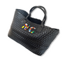 BLACK WOVEN SHOPPER BAG
