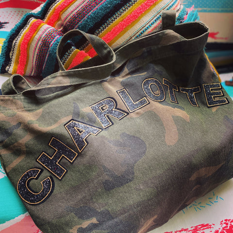 CAMO PRINT CANVAS SHOPPER BAG - WHOLE NAME
