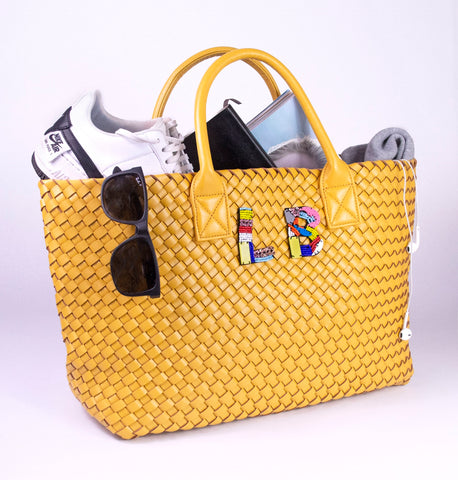 YELLOW WOVEN SHOPPER BAG