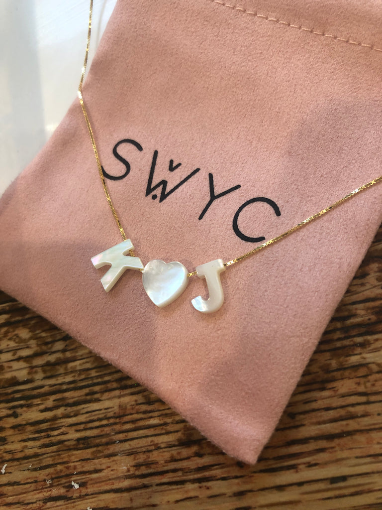 "MOTHER OF PEARL PERSONALISED ""LOVE HEART"" NECKLACE"
