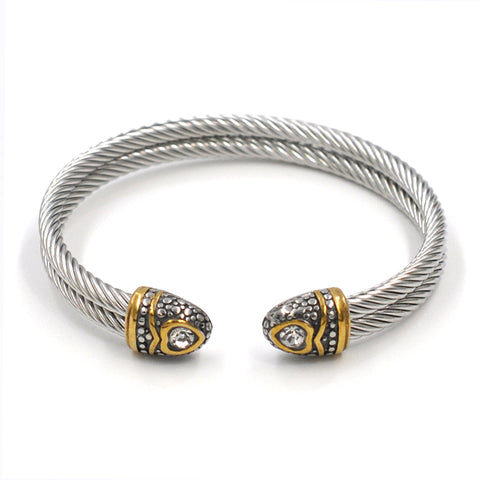 SILVER TWISTED BANGLE - CLEAR STONE