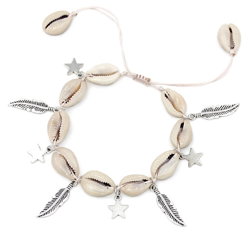 SHELL/FEATHER ANKLET