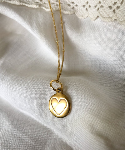 HEART DISC CHARM NECKLACE