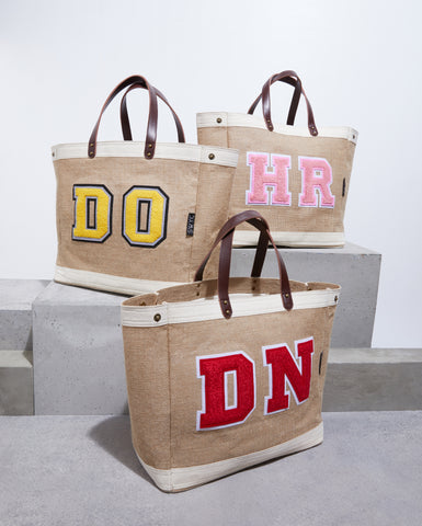 Jute market shopper bag - white trim