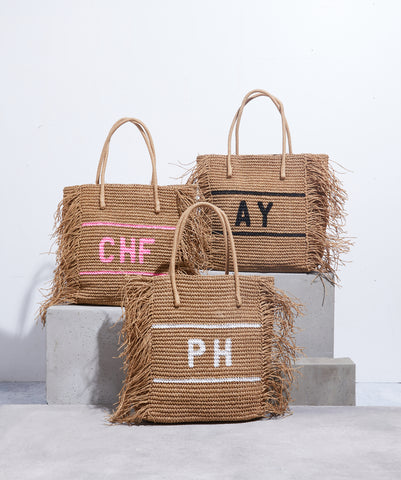 Personalised fringed raffia bag