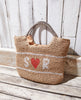 Personalised straw basket bag - small initials